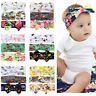 3PCS Baby Kids Elastic Flower Prited Bow Headband Turban Hair Band Hair Acces