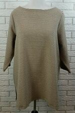 Coldwater Creek Aline Ponte Knit Tunic 1X Beige Black Striped