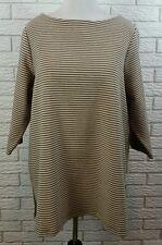 Coldwater Creek Aline Ponte Knit Tunic 1X Beige Black Striped