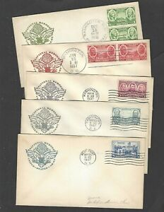 #785-9 1937 ARMY SERIES  FDC SET of 5 ALL FARNAM CACHETS