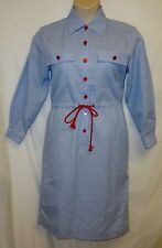 Vtg 80's Retro Orvis Shirt Dress 8 M Nautical Candy Striper Red Blue White Strip