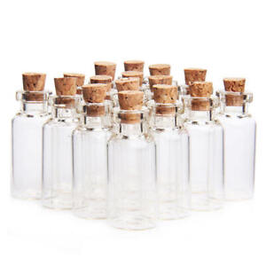 Pack of 10 Mini Clear Vial Glass 5ml Bottles & Cork Stop. Home Weddings Perfume