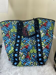 Betsey Johnson Betseyville Extra Large Strawberry Fields Blue / Black Zebra Tote
