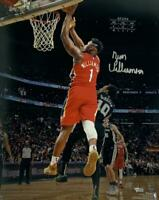 """ZION WILLIAMSON Autographed Pelicans """"Debut"""" 16"""" x 20"""" Photograph FANATICS"""