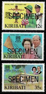 Kiribati QEII 1982 Royal Visit Set of 3 SG193/5 NHM Ovptd Specimen From My Coln
