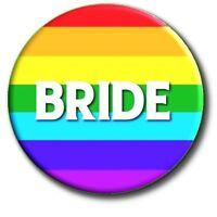 "GAY/LESBIAN WEDDING PARTY PERSONALISED PRIDE BADGES~ 55 MM/ 2.2 "" AB FAB!"