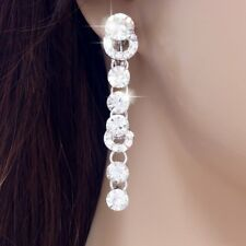 #E517 5.5cm Long CLIP ON screw back EARRINGS Clear Crystal Chandelier Wedding