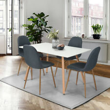 120cm Length Designer Dining Table and 4 Padded Retro Lounge Relax Chairs