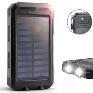 2020 Waterproof Solar Power Bank Portable External Battery Charger US
