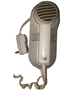 Sunbeam Wall Mount Hair Dryer 1500 Space Saving Hotel Design White Tested Works