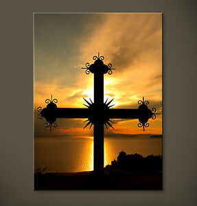 IRON CROSS Leinwand Kreuz Bild No Poster Orange Gelb Schwarz Jesus Kunstdruck