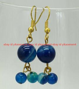 Fashion 6&10mm Blue Stripe Agate Round Gemstone Beads Dangle Gold Hook Earrings