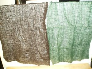 A4 SIZE 2x PIECES OLIVE/BROWN CAMOUFLAGE NETTING FOR SCENES & DIORAMAS SEE PICS