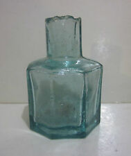 Antique Hand Blown Aqua Blue 8-Sided Inkwell, no stopper, UL on bottom