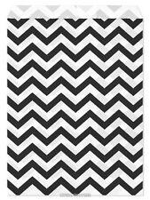 "100 Flat Merchandise Paper Bags: 5 x 7"", Black Chevron Stripes on White"