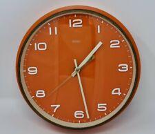 More details for metamec orange mid century 1960s 70s battery wall clock mcm vintage retro