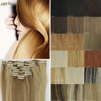 """12""""-16"""" Straight Clip in Human Hair Extensions Hair Weft 7pcs/set More Colors"""