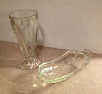 Vintage Mid Century Heavy Glass Banana Split Dish and Ice Cream Soda Glass