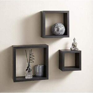 Black Set of 3 cube wall shelf