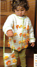 CUTE Rows of Bows Child's Cardigan & Purse/Crochet Pattern INSTRUCTIONS ONLY