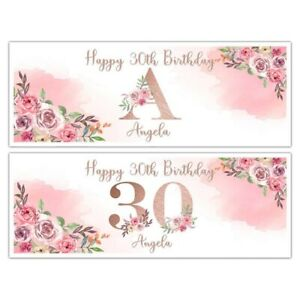 PERSONALISED ROSE GOLD LETTER NUMBER BIRTHDAY BANNERS WALL DECORATIONS ANY AGE