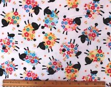 SNUGGLE FLANNEL *FLOWER COVERED BLACK FACE SHEEP on WHITE*100% Cotton Fabric BTY