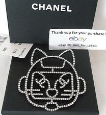 Karl Lagerfeld Choupette Robot Crystal Cat CHANEL Brooch CC LARGE Emoji Pin 17S