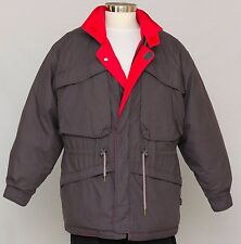 Men's Winter Down Reversible Jacket Size L Large Gray Red PARK HILL
