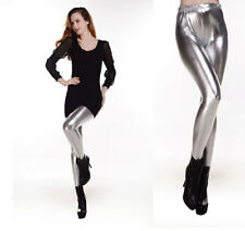 New Ladies Women Punk Metallic Hot Lycra Wet Look Shiny Pants Leggings Trousers