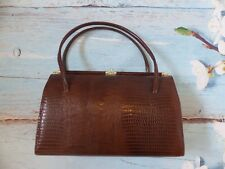 e539ddbdfd Vintage Brown Leather Kelly Hand Bag Crocodile Effect Golden Clasp Elbief  Frame