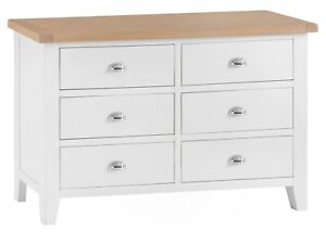 Hartwell White 6 Drawer Wide Chest / Painted Set of Drawers / Storage Cabinet
