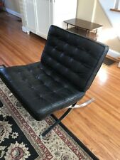 VINTAGE BARCELONA KNOLL ROHE STYLE LOUNGE LEATHER CHAIR 1960S MID CENTURY