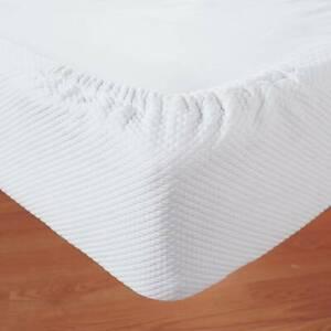 LinenSource Diamond Pique Cotton Jacquard Box Spring Refresher Wrap King White