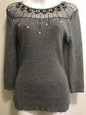 Lauren Michelle Women's Sparkling Sliver/Black Embellishment Split Sweater