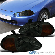 For 93-97 Honda Civic del Sol Smoke Lens Tinted Headlights Head Lamps Left+Right