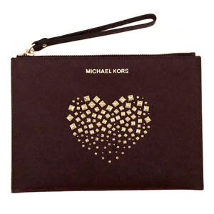 MICHAEL KORS Merlot Leather Zip Clutch Bag Handbag Wristlet Purse