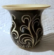 """WHITE AND BLACK POTTERY 4""""  SMALL VASE BY AMY"""
