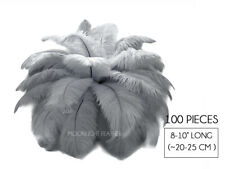 """100 Pieces - 8-10"""" Silver Gray Wholesale Ostrich Feathers Halloween Mask Costume"""