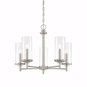 Hampton Bay 5-Light Brushed Nickel Chandelier with Clear Glass Shades HB2583-35
