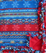 Handmade Fleece Tie-Blanket 58X90 Oversized Xl Nordic Winter Snowflake -2 layer