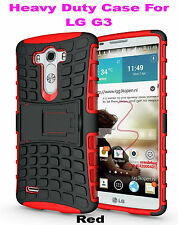 Red Strong Handyman TPU Hard Case Cover Stand for LG G3, Heavy Duty & Tough