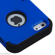 Apple iPhone 5 Hard Hybrid Case Snap On Cover Blue / Black Silicone TUFF M