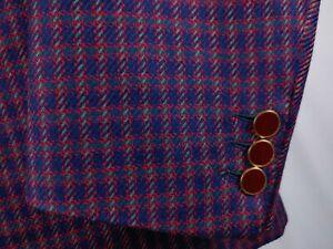 Brioni Men 38/40L Multicolored Tweed Sport Coat Jacket Blazer Purple Red 1Button