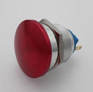 22mm Thread Mushroom Red Head Momentary Push Button Switch 1NO 2Pin IP67