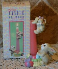 Vintage Giftco Easter Candle Climbers~Bunny Rabbit~Matte Porcelain~No Candle~Euc