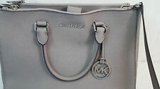 Michael Kors SUTTON Medium Satchel LEATHER Tote Handbag PEARL GREY Double Zip