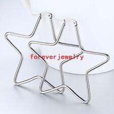Fashion 316L Stainless Steel Silver Big Star Hoop Dangle Earrings Womens Jewelry