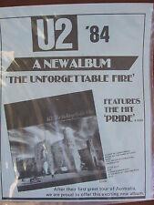 U2 The Unforgettable Fire LP + PROMO Vinyl + SHEET Australia 1984 ULTRA RARE!