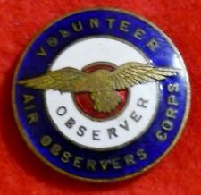 R.A.A.F  WWII  Volunteer Air Observers Corps (Australia) Badge No 29600