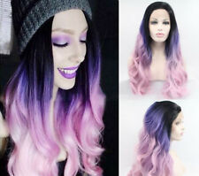 Ombre Black Purple Pink Wave Long Heavy Density Hair Synthetic Lace Front Wig..